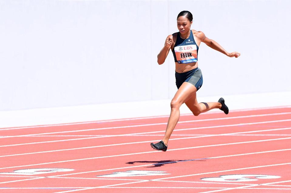 WALNUT, CA - JULY 09:  Allyson Felix crosses the finish in first place in the 150 meter dash during the Weltklasse Zurich Inspiration Games amidst the coronavirus (COVID-19) pandemic on July 09, 2020 in Walnut, California. (Photo by Harry How/Getty Images)