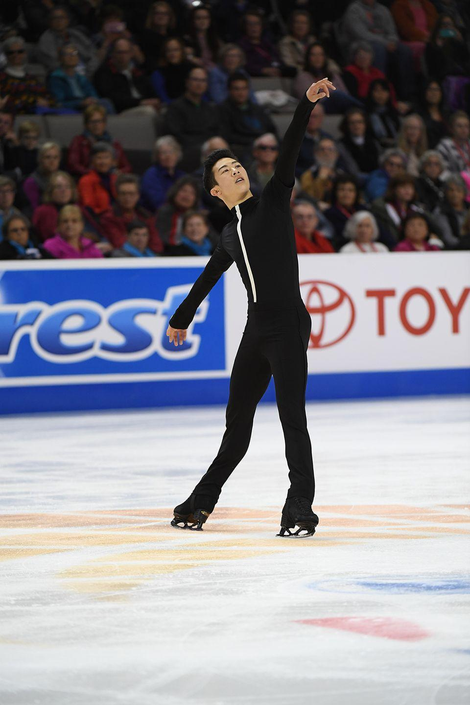 <p><strong>Age: </strong>18</p><p><strong>Hometown:</strong> Salt Lake City, UT</p><p><strong>Event:</strong> Figure Skating</p><p>Nathan Chen trains for four or five hours per day when he's prepping for competition, rising at 7:30am and fitting in three sessions before he hits the hay at night. When he's not on the ice, you can find him doing weight-based workouts at the gym or biking outside, which means he carries lots of snacks with him to stay fueled throughout the day — luckily his mom is a big help in keeping his meals organized.</p>