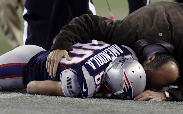 New England Patriots wide receiver Danny Amendola is aided after being injured in the third quarter of an NFL football game against the New Orleans Saints Sunday, Oct.13, 2013, in Foxborough, Mass. (AP Photo/Steven Senne)