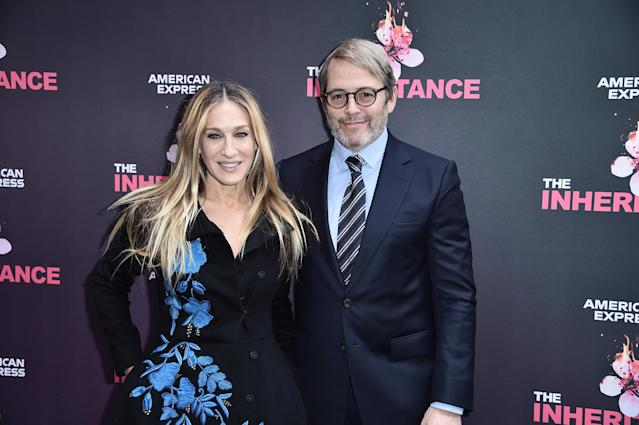 """Sarah Jessica Parker and Matthew Broderick attend """"The Inheritance"""" Opening Night at the Barrymore Theatre on November 17, 2019 in New York City. (Photo by Steven Ferdman/Getty Images)"""