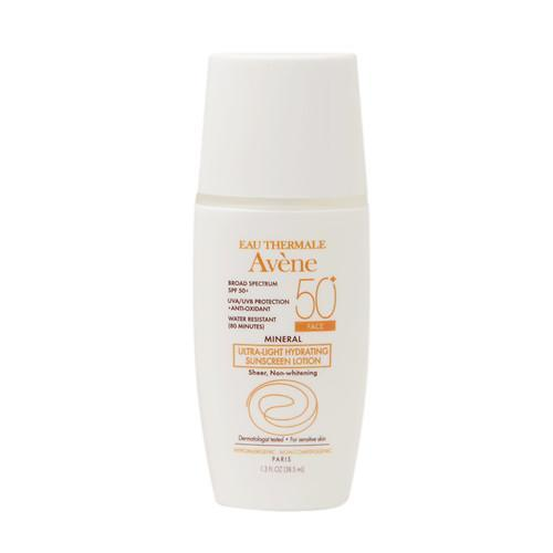 """<p>This oil-free, creamy formula disappears into the skin quickly. I tried it this winter on my pasty skin while in the Caribbean and it exceeded my expectations and didn't sting my eyes while snorkeling. <br><br><a href=""""http://www.drugstore.com/avene-mineral-ultra-light-hydrating-sunscreen-lotion-face-spf-50/qxp549729"""" rel=""""nofollow noopener"""" target=""""_blank"""" data-ylk=""""slk:Eau Thermale Avene Ultra-Light Hydrating Sunscreen Lotion SPF 50"""" class=""""link rapid-noclick-resp"""">Eau Thermale Avene Ultra-Light Hydrating Sunscreen Lotion SPF 50 </a>($28)</p>"""