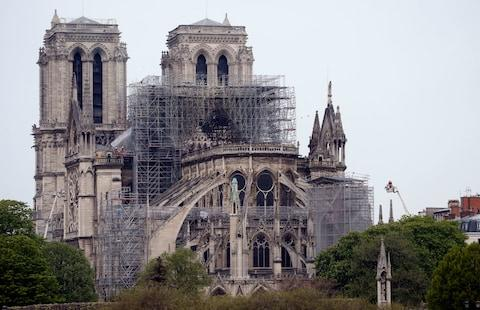 Notre-Dame on Tuesday morning - Credit: GETTY