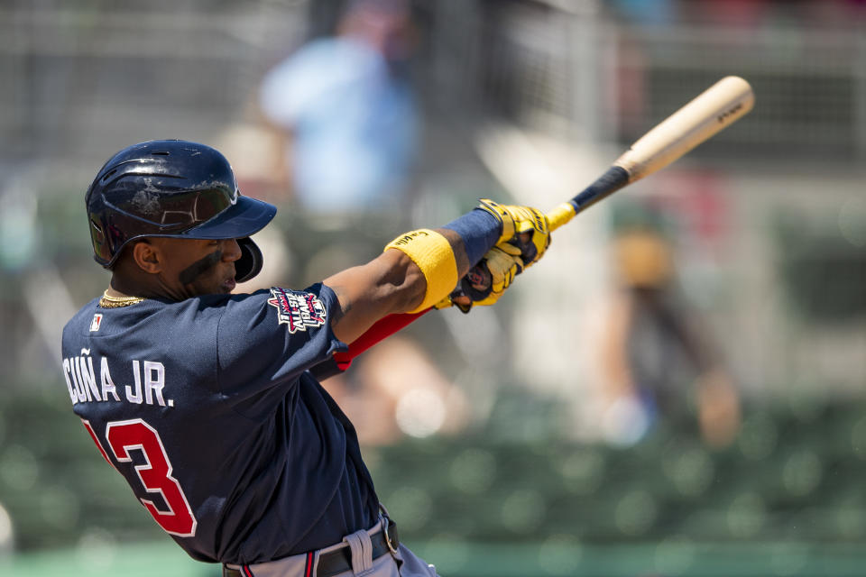 FT. MYERS, FL - FEBRUARY 28: Ronald Acuna Jr. #13 of the Atlanta Braves bats during the first inning of a Grapefruit League game against the Boston Red Sox at jetBlue Park at Fenway South on March 1, 2021 in Fort Myers, Florida. (Photo by Billie Weiss/Boston Red Sox/Getty Images)
