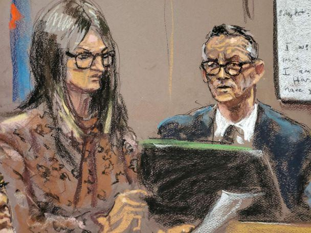 PHOTO: Paul Feldsher is questioned by lawyer Donna Rotunno during film producer Harvey Weinstein's sexual assault trial at New York Criminal Court in the Manhattan borough of New York City, Feb. 6, 2020 in this courtroom sketch. (Jane Rosenberg/Reuters)