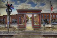 <p>If you take the last train to Clarksville, Missouri, you'll be greeted by this welcome and beautiful entranceway before you wander through town and along the banks of the Mississippi. </p>