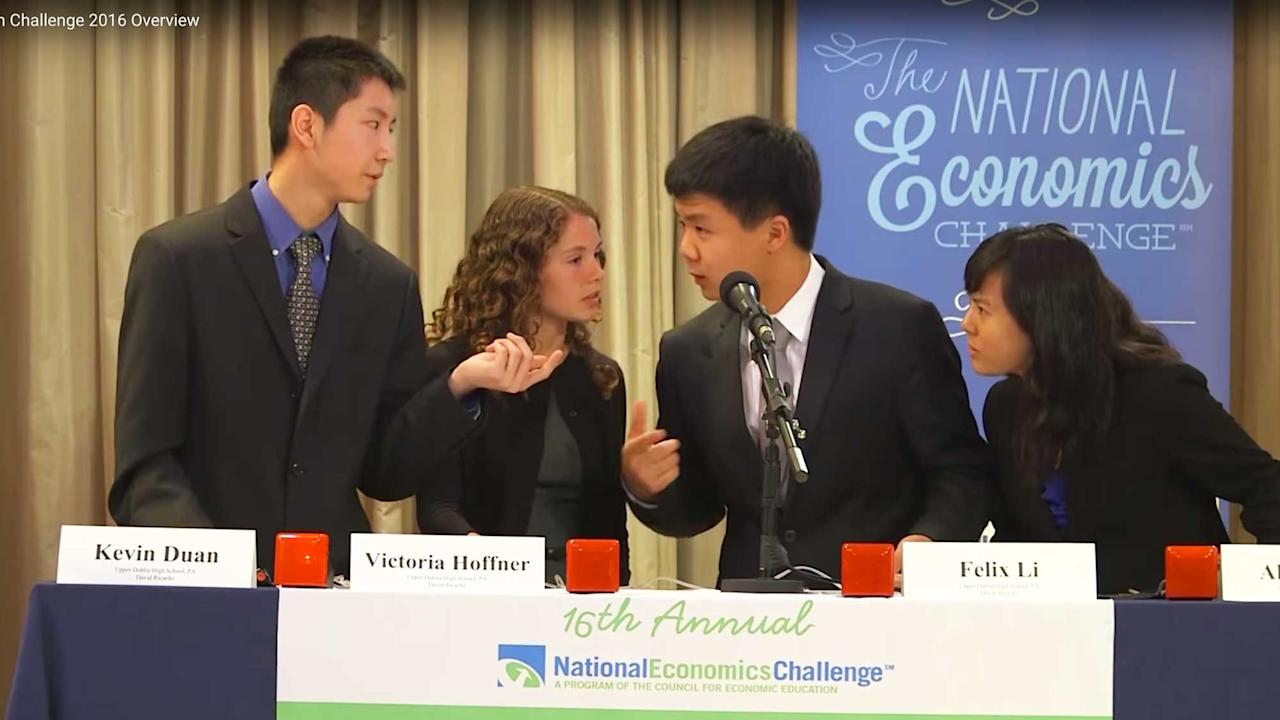 CNBC's Steve Liesman hosts the final round of the Council for Economic Education's National Economics Challenge, where high school students compete in a quiz bowl to test their economic knowledge.