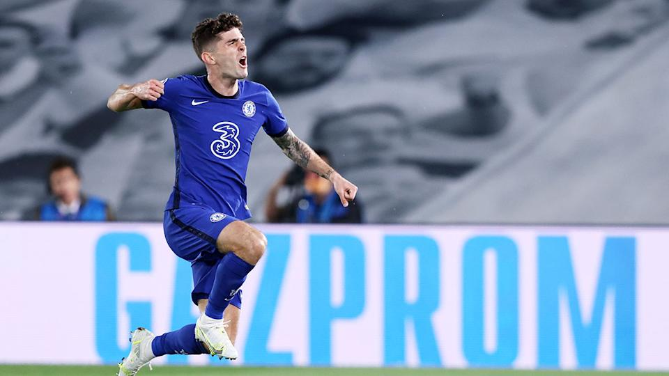 Pictured here, Chelsea's Christian Pulisic celebrates his goal against Real Madrid.