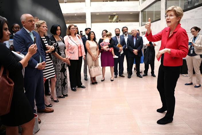 U.S. Sen. Elizabeth Warren (D-MA) address Texas State House Democrats as they meet with Senators on Capitol Hill on July 14, 2021 in Washington, DC. (Getty Images)