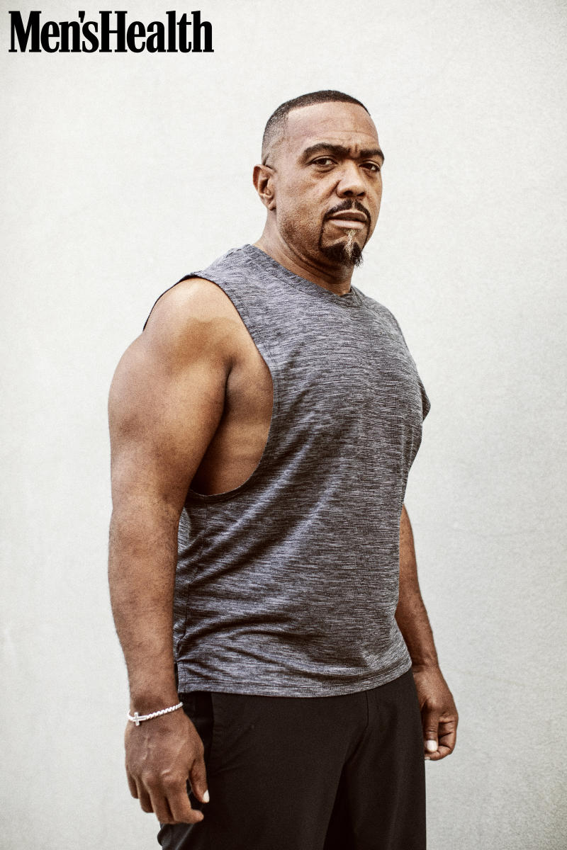 Timbaland talks about overcoming addiction and losing 130 pounds in the latest issue of Men's Health. (Photo: Christaan Felber for Men's Health)
