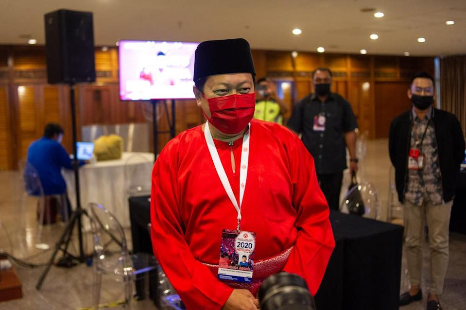 Umno secretary-general, Datuk Seri Ahmad Maslan is pictured during the 2020 Umno annual general meeting in Kuala Lumpur on March 28, 2021. ― Picture by Shafwan Zaidon