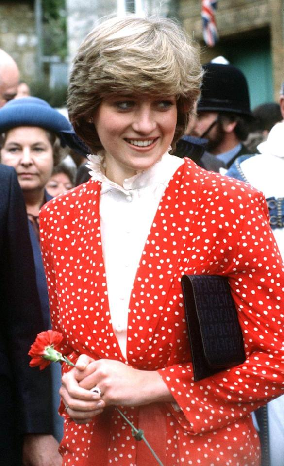 <p>The Princess donned a classic red and white polka dot blazer in Tetbury shortly after her engagement to Prince Charles was announced in February 1981. </p>