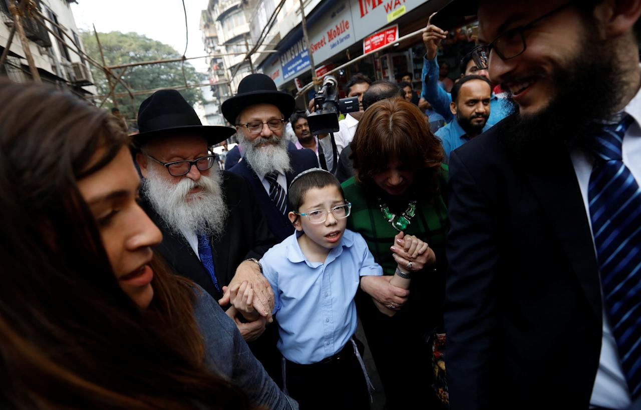 Moshe Holtzberg, who survived the 2008 Mumbai attacks, arrives at Nariman House, home to the Mumbai chapter of the Chabad-Lubavitch Jewish movement, in Mumbai, India January 16, 2018. REUTERS/Danish Siddiqui
