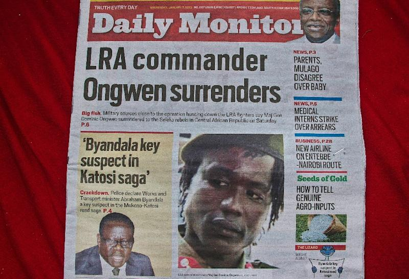 A Ugandan daily dated January 7, 2015 carries a picture of former LRA second-in-command Dominic Ongwen