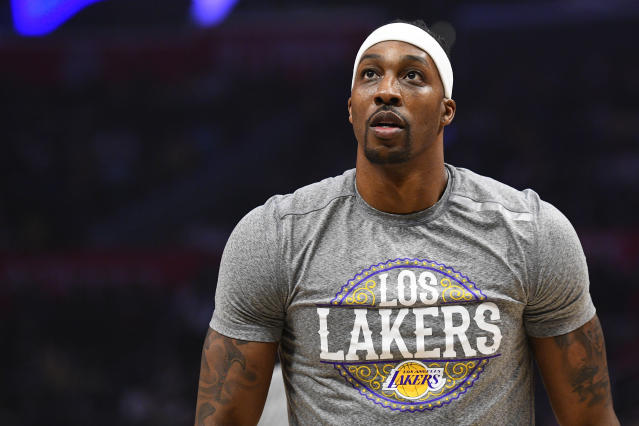 Los Angeles Lakers center Dwight Howard released a statement clarifying his thoughts on the NBA returning to play. (Brian Rothmuller/Icon Sportswire via Getty Images)