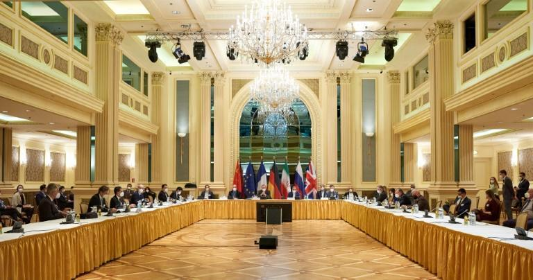 Diplomats from the EU, China, Russia and Iran at the start of talks at the Grand Hotel in Vienna on April 6, 2021