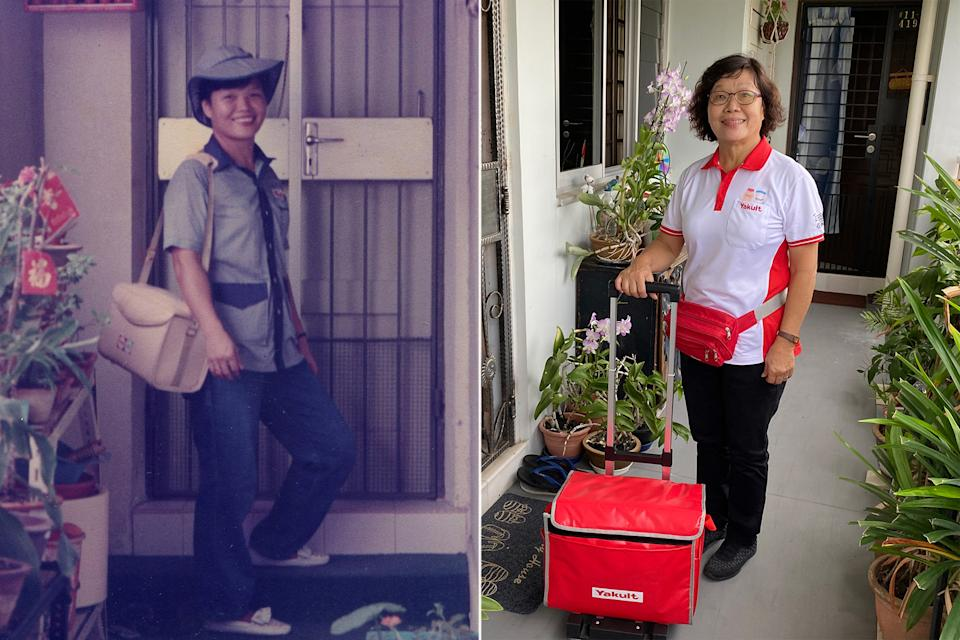 Then and now: Singapore's first Yakult Lady Chong Wai Yoong delivering Yakult in Bukit Batok in 1986, and on her rounds in Choa Chu Kang in 2020. (PHOTO: Chong Wai Yoong and Dhany Osman/Yahoo News Singapore)