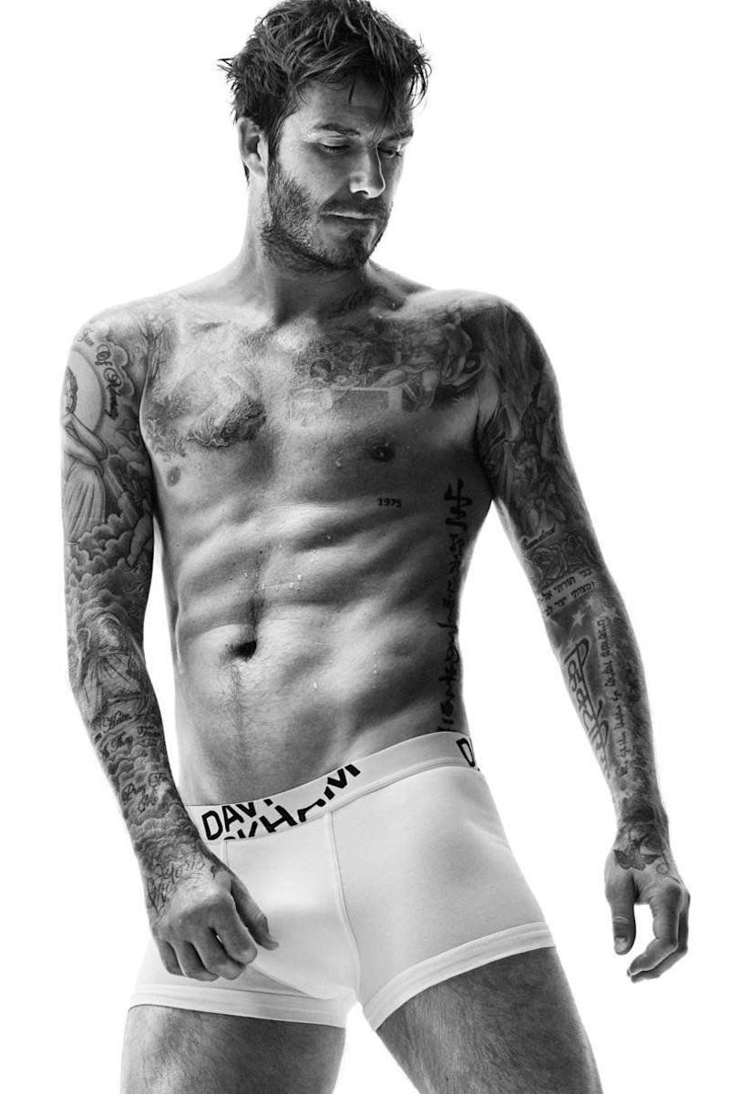 Modelling underwear for H&M and showing off his ever growing tattoo collection in 2015.