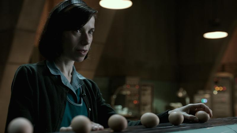 "Sally Hawkins has long been one of those venerated indie actresses awaiting her proper due. ""<a href=""https://www.huffingtonpost.com/entry/the-shape-of-water-review-guillermo-del-toro_us_59b9b67ce4b02da0e13f0a19"" target=""_blank"">The Shape of Water</a>"" could be her bargaining chip. Playing a mute 1960s janitor, Hawkins wears a lifetime of heartbreak on her face. Guillermo del Toro's movie has an old-fashioned sweep that will appeal to young and old Academy voters alike. They've always had a penchant for performances with physical afflictions: Patty Duke, John Mills and Holly Hunter all won for playing mute."