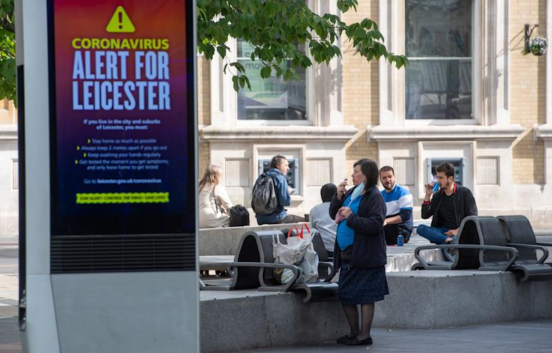 An NHS public safety message in Leicester after the Health Secretary Matt Hancock imposed a local lockdown following a spike in coronavirus cases in the city.