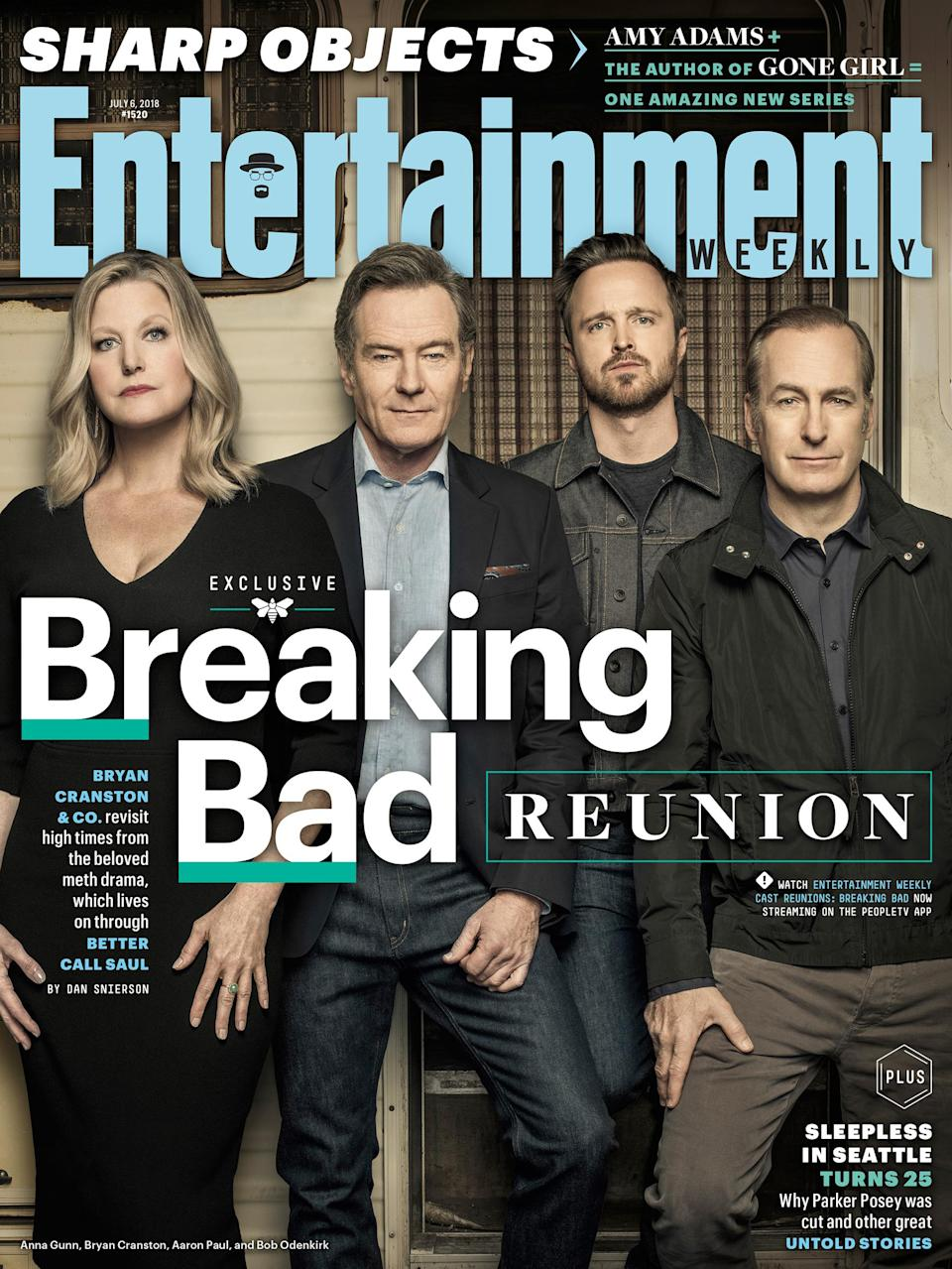 """Anna Gunn, Bryan Cranston, Aaron Paul, Bob Odenkirk, and the rest of the cast <a rel=""""nofollow noopener"""" href=""""https://ew.com/tv/2018/06/28/breaking-bad-reunion-ew-cover/"""" target=""""_blank"""" data-ylk=""""slk:reminisced"""" class=""""link rapid-noclick-resp"""">reminisced</a> about the award-winning <a rel=""""nofollow noopener"""" href=""""https://ew.com/tv/breaking-bad-cast-reunion-photos/"""" target=""""_blank"""" data-ylk=""""slk:drug drama"""" class=""""link rapid-noclick-resp"""">drug drama</a>."""