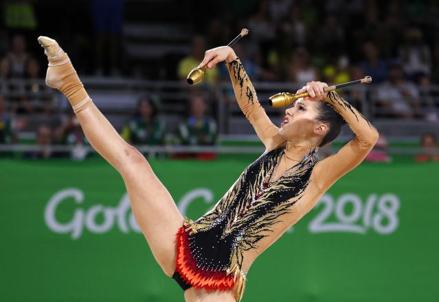 Rhythmic Gymnastics - Gold Coast 2018 Commonwealth Games - Individual Clubs Final - Coomera Indoor Sports Centre - Gold Coast, Australia - April 13, 2018. Diamanto Evripidou of Cyprus. REUTERS/David Gray