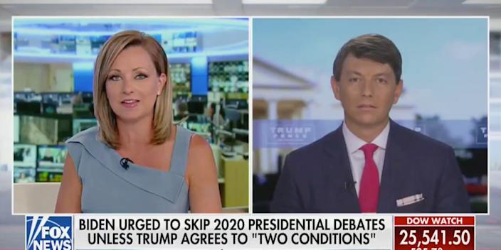 The Fox News host Sandra Smith, left, interviews Hogan Gidley, the Trump campaign's national press secretary, on Thursday.