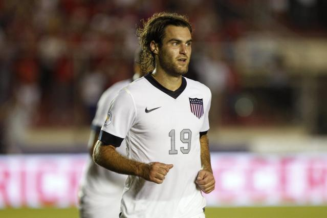 Graham Zusi of the U.S. celebrates after scoring a goal against Panama during their 2014 World Cup qualifying soccer match in Panama City October 15, 2013. REUTERS/ Carlos Jasso (PANAMA - Tags: SPORT SOCCER)