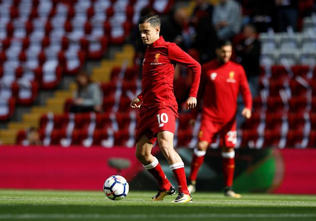 <p>Liverpool's Philippe Coutinho during the warm up before the match REUTERS/Phil Noble </p>