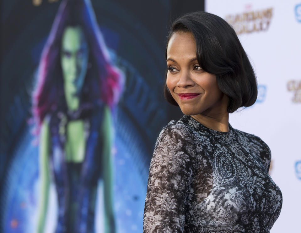 """Cast member Zoe Saldana poses at the premiere of """"Guardians of the Galaxy"""" in Hollywood, California July 21, 2014. The movie opens in the U.S. on August 1. REUTERS/Mario Anzuoni  (UNITED STATES - Tags: ENTERTAINMENT)"""