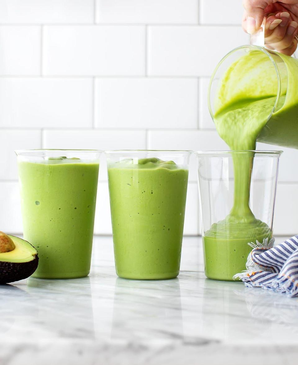 """<p>Here's another green smoothie to put on your radar. The main ingredient? Avocado, which will help keep you fuller longer, plus a bit of spinach, banana, maple syrup, and more. </p><p><a class=""""link rapid-noclick-resp"""" href=""""https://www.loveandlemons.com/avocado-smoothie/"""" rel=""""nofollow noopener"""" target=""""_blank"""" data-ylk=""""slk:Get the recipe"""">Get the recipe</a></p>"""
