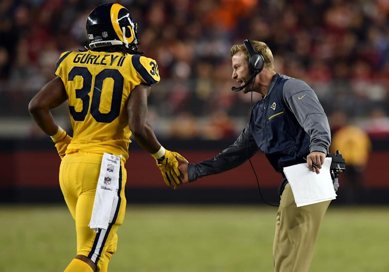 After a painful loss to the Steelers, Rams head coach Sean McVay decided to get Todd Gurley more time on the field. (Photo by Chris Williams/Icon Sportswire via Getty Images)