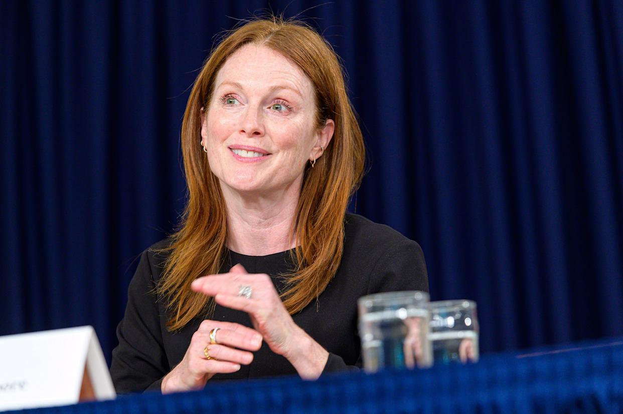 Julianne Moore is seen during the signing of New York State legislation extending the stature of limitations for rape in the 2nd and 3rd degrees at the Governor's executive offices at 633 Third Avenue in New York, NY, USA on September 18, 2019. (Photo by Albin Lohr-Jones/Sipa USA)