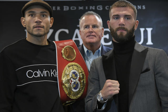 Caleb Plant (R) dropped Jose Uzcategui (L) twice en route to a unanimous decision victory Sunday in Los Angeles. (Getty Images)