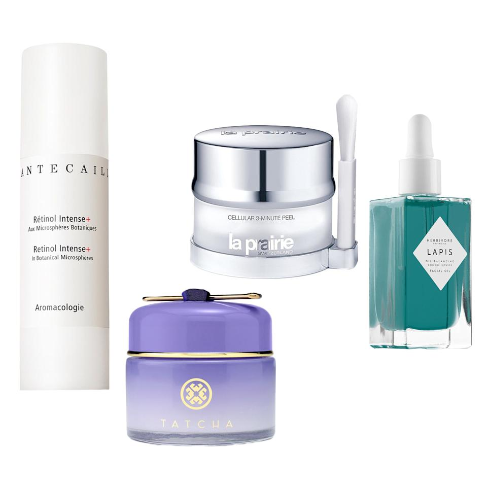 """<p><b>La Prairie 3-Minute Peel</b></p><p>""""Look: I do not have time for masks on masks on masks, waiting 15 minutes for this one then 20 minutes for that one. I have 3 minutes, and I'd prefer to answer e-mails while it's going to work. I love this peel — which, PS, employs AHAs, BHAs, and Salicylic Acid, so it's good for anti-aging and acne — because you can instantly feel it go to work. When you take it off, you'll notice that any products afterwards feel like they'll immediately absorb into the skin. It's magic.""""</p><p>$230 (<a rel=""""nofollow"""" href=""""https://www.bloomingdales.com/shop/product/la-prairie-cell-3-minute-peel?ID=99112&mbid=synd_yahoobeauty"""">bloomingdales.com</a>)</p><p><b>Tatcha Overnight Memory Serum Concentrate</b></p><p>""""A lot of overnight products can be heavy and rich, but my skin usually can't handle that kind of moisture intake — I literally will wake up with zits by morning. This serum formula from Tatcha, on the other hand, has more of a gel texture, so it absorbs instantly into the skin without feeling heavy. I use the little golden spoon and apply one scoop to my neck and décolletage, and one to my face, then massage it in until my skin is dry.""""</p><p>$110 (<a rel=""""nofollow"""" href=""""https://www.tatcha.com/shop/overnight-memory-serum-concentrate?mbid=synd_yahoobeauty"""">tatcha.com</a>)</p><p><b>Chantecaille Retinol Intense+</b></p><p>""""After I turned 25, I decided to get as real as possible about retinol…without going to the dermatologist. Chantecaille's formula is super gentle — it hydrates like any cream moisturizer — but you'll wake up with noticeably more luminous skin.""""</p><p>$140 (<a rel=""""nofollow"""" href=""""http://shop.nordstrom.com/s/chantecaille-retinol-intense/4021507?mbid=synd_yahoobeauty"""">nordstrom.com</a>)</p><p><b>Herbivore Botanicals Lapis Balancing Facial Oil</b></p><p>""""I use a good three drops of this stuff on my face after I'm done with my nighttime routine to ensure that I am well moisturized before bed. I want to wake up glowy and de"""