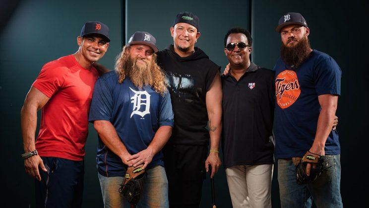Miguel Cabrera, Pedro Martinez and Carlos Pena with the