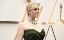 Greta Gerwig arrives at the Oscars on Sunday, Feb. 9, 2020, at the Dolby Theatre in Los Angeles. (Photo by Richard Shotwell/Invision/AP)