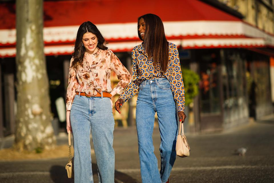 1970s-inspired flares are back in a big way. (Photo by Edward Berthelot/Getty Images)