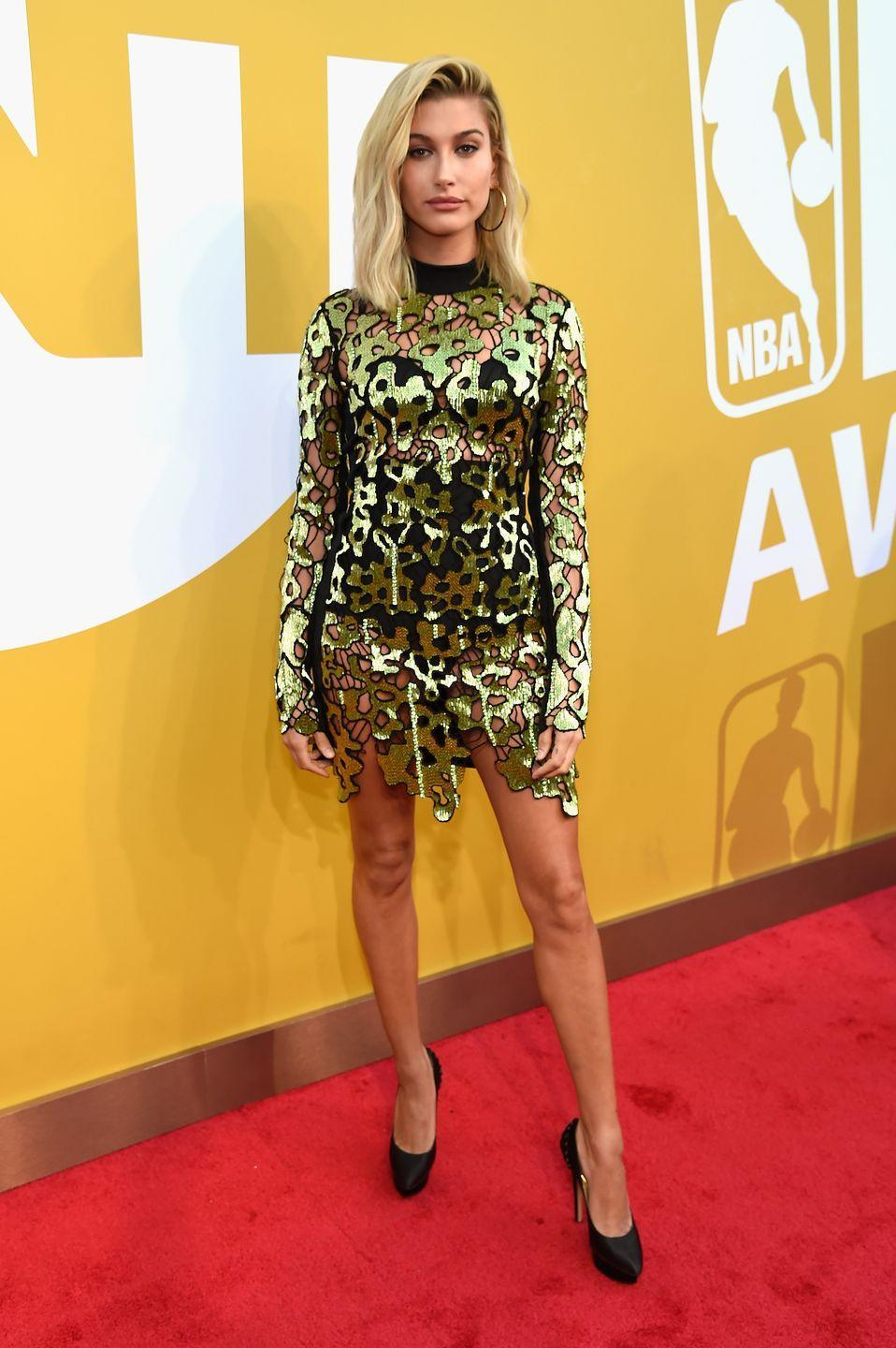 <p>Hailey Baldwin wore David Koma to attend the 2017 NBA Awards.</p>