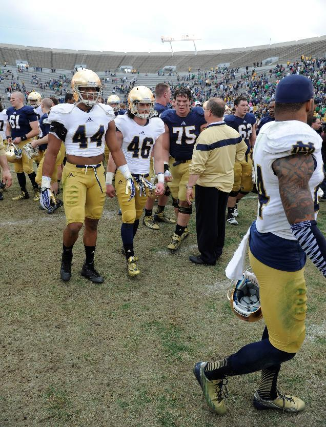 Notre Dame players walk off the field after their spring NCAA college football game Saturday April 12, 2014 in South Bend, Ind. The Blue Gold game marks the end of spring football practice. (AP Photo/Joe Raymond)
