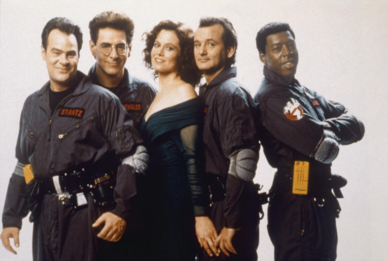 American actors and screenwriters Dan Aykroyd, Harold Ramis, actors Sigourney Weaver, Bill Murray and Ernie Hudson on the set of Ghost Busters, directed by Ivan Reitman. (Photo by Columbia Pictures/Sunset Boulevard/Corbis via Getty Images)