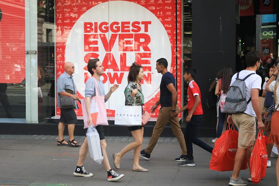 OXFORD STREET, LONDON, UNITED KINGDOM - 2019/06/22: Oxford Street is packed with shoppers  taking an advantage of large discounts as the summer sales season begins although  retailers continue to face the threat of online shopping. (Photo by Amer Ghazzal/SOPA Images/LightRocket via Getty Images)