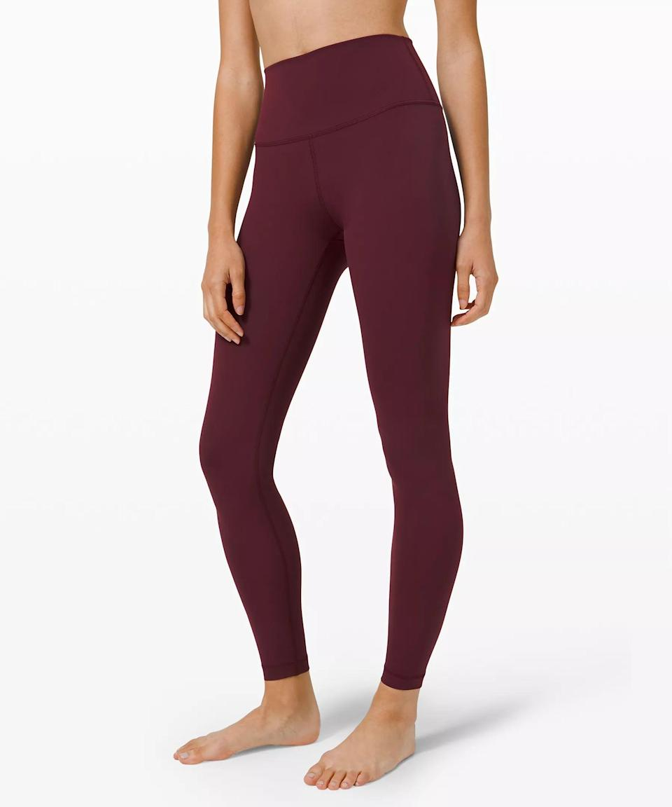 """<p>The <span>Lululemon Wunder Under High-Rise Tight 28"""" Full-On Luxtreme</span> ($98) is made with a breathable, stretchy fabric, but you won't have to worry about these leggings looking too sheer. Plus, """"the sweat-wicking Luxtreme fabric is perfect for holding those long plank poses to build up body heat,"""" Snyder said.</p>"""