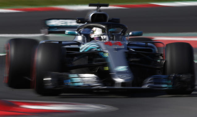 Mercedes driver Lewis Hamilton of Britain steers his car during a Formula One pre-season testing session in Montmelo, outside Barcelona, Spain, Wednesday, March 7, 2018. (AP Photo/Manu Fernandez)