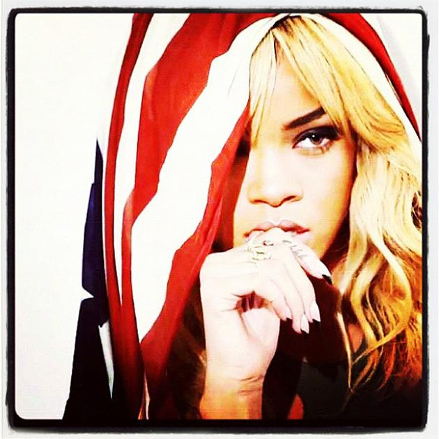 Celebrity photos: Rihanna is the queen of Twitpics and this one was no exception. The singer tweeted this striking image of her with the American flag draped across her head. Stunning.