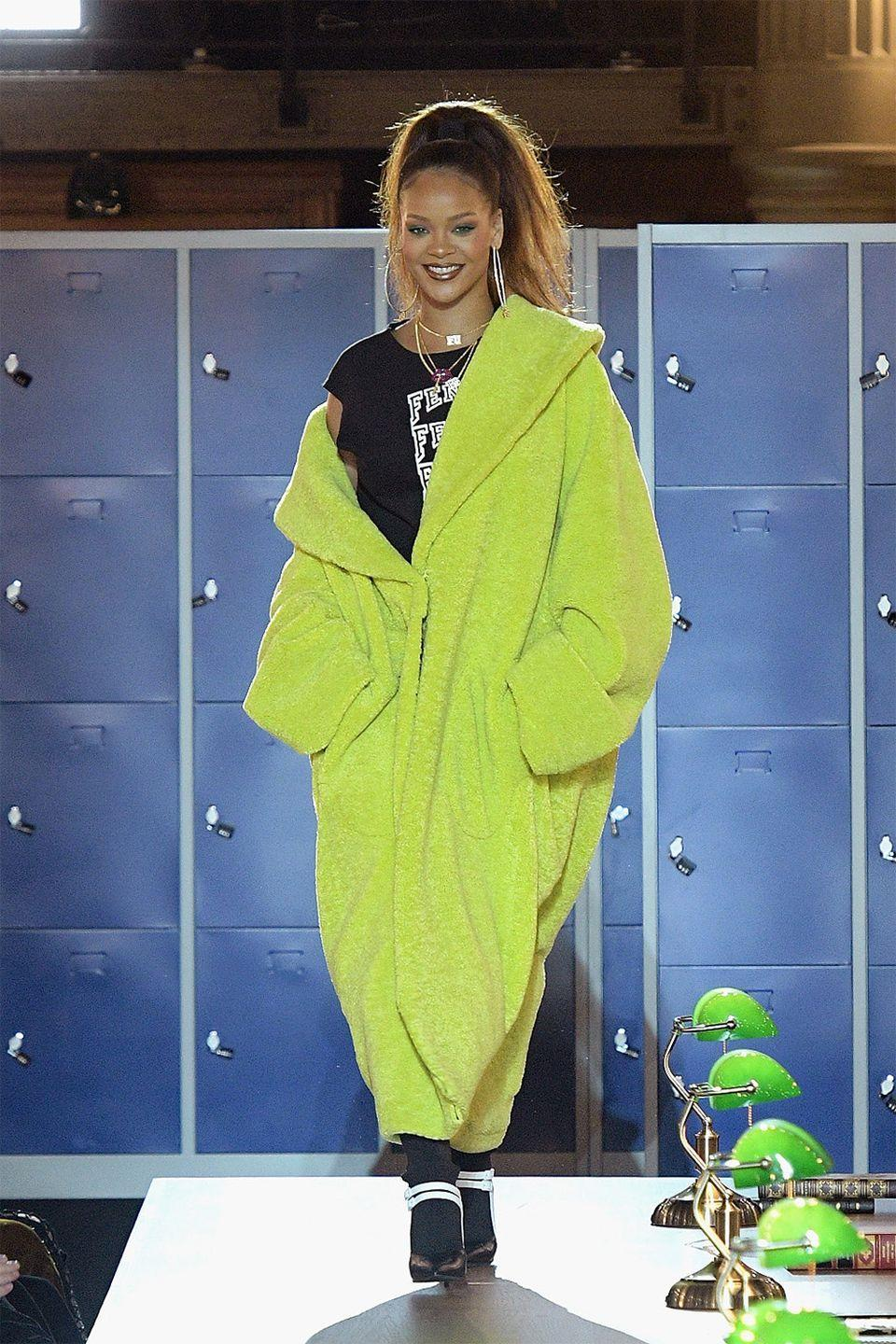 <p>In a neon green all Fenty look at her Fall 2017 show for the brand in Paris </p>