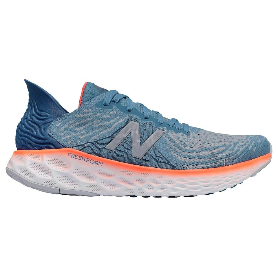 """<p><strong>New Balance</strong></p><p>amazon.com</p><p><strong>$100.95</strong></p><p><a href=""""https://www.amazon.com/dp/B08162N4QK?tag=syn-yahoo-20&ascsubtag=%5Bartid%7C2141.g.36533538%5Bsrc%7Cyahoo-us"""" rel=""""nofollow noopener"""" target=""""_blank"""" data-ylk=""""slk:Shop Now"""" class=""""link rapid-noclick-resp"""">Shop Now</a></p><p>There's a newer version of the 1080 out now, but the V10 is still an incredibly cushioned and comfortable trainer that can take you from casual jog to long run. The knit upper is stretchy, soft, and molds to your feet to prevent blistering and give you an overall sock-like feel. </p><p><a class=""""link rapid-noclick-resp"""" href=""""https://www.amazon.com/New-Balance-1080v10-Magnetic-Moondust/dp/B0815XVB8N/ref=sr_1_22?dchild=1&keywords=running+shoes&qid=1621521388&sr=8-22&tag=syn-yahoo-20&ascsubtag=%5Bartid%7C2141.g.36533538%5Bsrc%7Cyahoo-us"""" rel=""""nofollow noopener"""" target=""""_blank"""" data-ylk=""""slk:Buy Women's"""">Buy Women's</a></p>"""