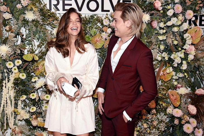 <p>Barbara Palvin and Dylan Sprouse share a laugh at the Revolve Gallery New York Fashion Week event at Hudson Yards on Sept. 9 in N.Y.C. </p>