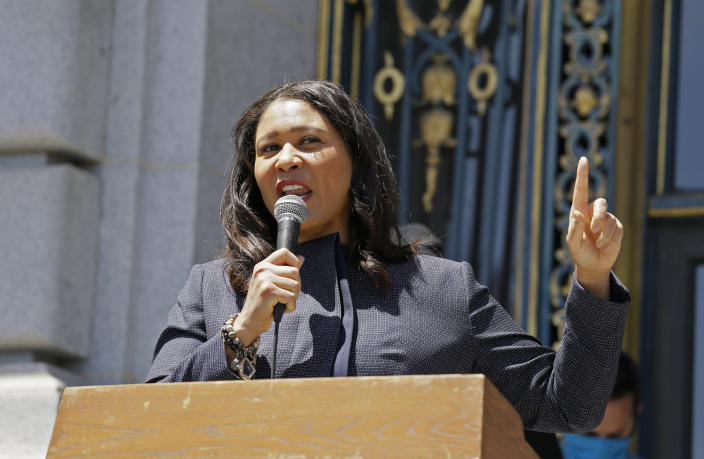FILE - In this June 1, 2020, file photo, San Francisco Mayor London Breed speaks outside City Hall in San Francisco. San Francisco is poised to allow indoor dining, movie theaters and gyms with reduced capacity as the rate of coronavirus cases and deaths improve, allowing more of California's economy throughout the state to open back up for business. It's unclear which activities might open when. Mayor London Breed is scheduled to provide an update at the tourist-friendly Pier 39 in Fisherman's Wharf Tuesday, March 2, 2021. (AP Photo/Eric Risberg, File)