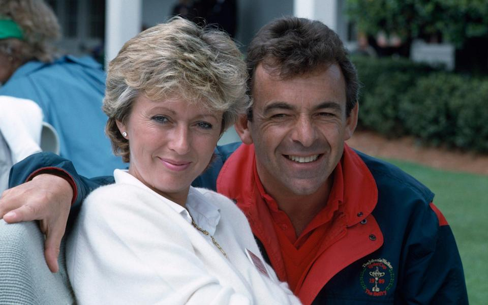 Tony Jacklin of England with his wife Astrid during the US Masters Golf Tournament