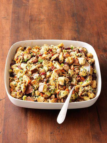 """<p>Infused with leeks, rosemary, and sage, this chestnut stuffing will make your annual indulgence worth it.</p><p>Get the <a href=""""http://www.delish.com/uk/cooking/recipes/a34559437/herbed-chestnut-bread-stuffing-recipe-rbk1110/"""" rel=""""nofollow noopener"""" target=""""_blank"""" data-ylk=""""slk:Herbed Chestnut Bread Stuffing"""" class=""""link rapid-noclick-resp"""">Herbed Chestnut Bread Stuffing</a> recipe.</p>"""